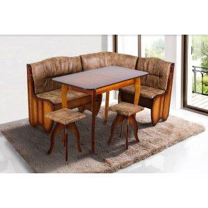 Кухонный комплект Канзас Микс Мебель стол+угол+ 2 табуретки