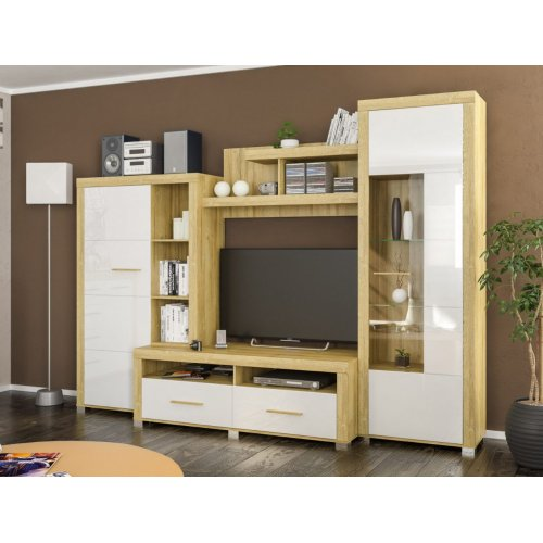 Гостиная Мебель Сервис Неон-2 дуб золотой/белый глянец